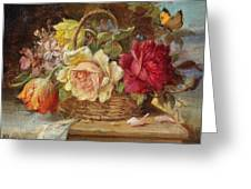 A Basket Of Flowers And A Butterfly Hans Zatzka Greeting Card