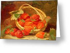 A Basket Of Strawberries On A Stone Ledge Greeting Card