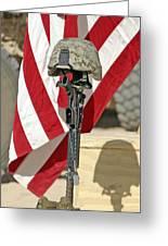 A Battlefield Memorial Cross Rifle Greeting Card by Stocktrek Images