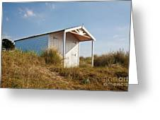 A Beach Hut In The Marram Grass At Old Hunstanton North Norfolk Greeting Card