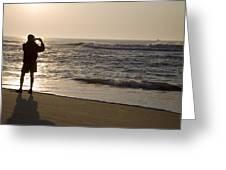 A Beach Walker Photographs Sunrise Greeting Card