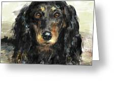 A Beautiful Artistic Painting Of A Dachshund  Greeting Card