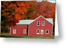 A Beautiful Country Building In The Fall 2 Greeting Card