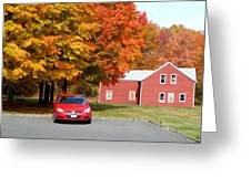A Beautiful Country Building In The Fall 4 Greeting Card