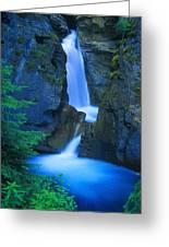 A Beautiful Waterfall, Johnston Canyon Greeting Card