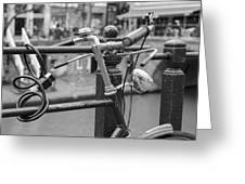 A Bicycle Parked At Fence, Netherlands Greeting Card