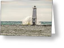 A Big Wave Crashes Into The Frankfort Light Greeting Card
