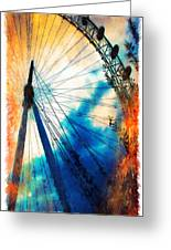 A Big Wheel Roller Coaster Ride Under A Sunset Greeting Card