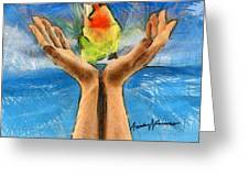 A Bird In Two Hands Greeting Card
