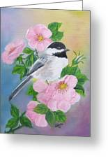 A Blackcapped Chickadee And Roses Greeting Card