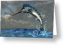 A Blue Marlin Flashes Its Iridescent Greeting Card