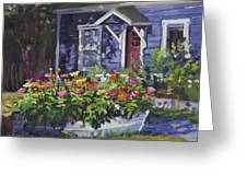 A Boat Load Of Zinnias Greeting Card