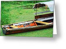 A Boat On Amazon Green Water Greeting Card