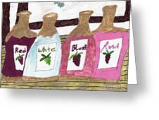 A Bottle Of Red Greeting Card