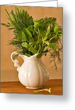 A Bouquet Of Fresh Herbs In A Tiny Jug Greeting Card