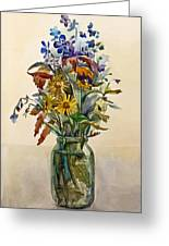 A Bouquet Of Wild Flowers In A Glass Jar. Greeting Card