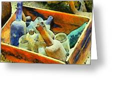 A Box Of Antique Bottles Greeting Card