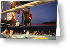 A Boxer Delivers A Punch Greeting Card by Maria Stenzel
