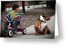 A Boy And His Bulldog Greeting Card