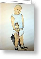 A Boy On A Stickhorse Greeting Card