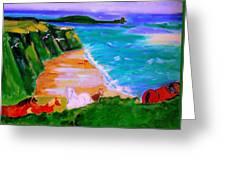 A Breezy Day At Rhosilli Bay Greeting Card