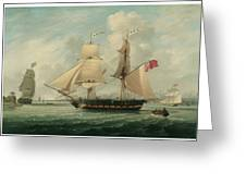 A Brig Entering Liverpool Greeting Card by John Jenkinson