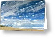 A Buffeting On The Beach Greeting Card by Wu Wei