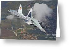 A Bulgarian Air Force Mig-29 In Flight Greeting Card
