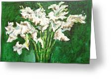 A Bunch Of White Gladioli Greeting Card
