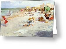 A Busy Beach In Summer Greeting Card