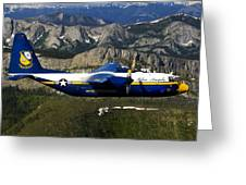 A C-130 Hercules Fat Albert Plane Flies Greeting Card