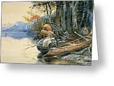 A Camp Site By The Lake Greeting Card