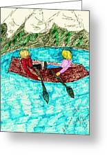 A Canoe Ride Greeting Card by Elinor Rakowski