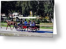 A Carriage Ride Through The Streets Of Katakolon Greece Greeting Card
