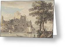 A Castle On A River Greeting Card