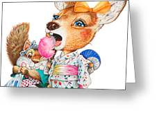 A Child Deer And Squirrel At The Summer Festival Greeting Card