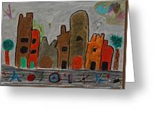 A Child's View Of Downtown Greeting Card