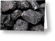 A Close View Of Coal Ready For Burning Greeting Card