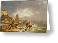 A Coastal Landscape Of The Isle Of Wight With Figures On Horse Back Near A Cottage Greeting Card