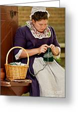 A Colonial Lady Knits Greeting Card