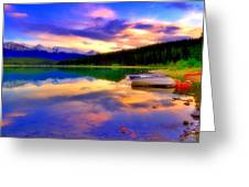 A  Colourful Evening At Lake Patricia Greeting Card