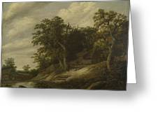 A Cottage Among Trees On The Bank Of A Stream Greeting Card