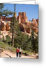 A Couple Hikes Along A Trail In Bryce Greeting Card