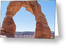 A Couple Kissing Under Delicate Arch In  The Arches National Par Greeting Card