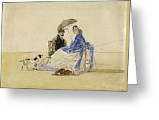 A Couple Seated On The Beach With Two Dogs Greeting Card