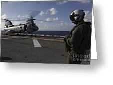 A Crew Chief Watches A Ch-46e Sea Greeting Card