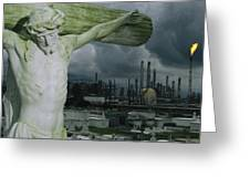 A Crucifixion Statue In A Cemetery Greeting Card