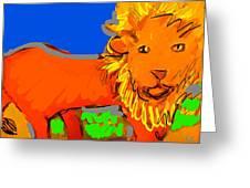 A Curious Lion Greeting Card
