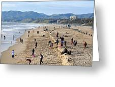 A Day At The Beach In Santa Monica Greeting Card