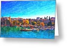 A Digitally Constructed Painting Of Kaleici Harbour In Antalya Turkey Greeting Card